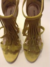MADDEN High Heels Women's Strappy Fringe Lime Green Suede, Size 10