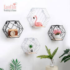 Industrial Metal Wire Wood Storage Wall Shelf Modern Loft Display Shelf Hexagon
