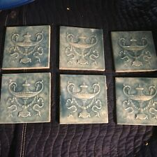 6 Matching Antique Victorian Majolica Blue and White Mottled Tiles Urns 6x6