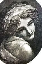 Portrait of Emma  - LADY HAMILTON Smiling 1885 Antique Print Engraving Matted