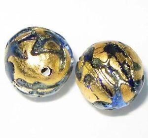 Vintage Czech Gold Cobalt Handmade Bohemian Glass Beads