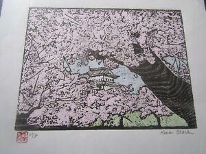 Cherry Blossom Tree Japanese Hirosaki Castle woodblock print moku hanga signed
