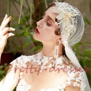 Vintage Juliet Cap Bridal Wedding Veils Tulle Champagne Appliques Beaded Luxury