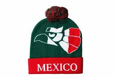 MEXICO Green With Red BRIM TOQUE HAT WITH POM POM ..New