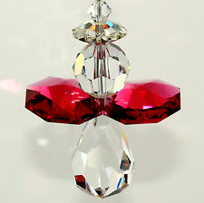 m/w All Swarovski Crystal * Guardian Angel with Bordeaux Red Wings Sun Catcher