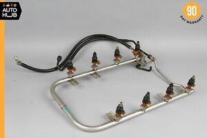 90-99 Mercedes R129 M119 500SL S500 Fuel Injection Rail Line w/ Injectors OEM