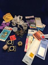 Mixed Lot Assorted Vintage Sewing Supplies snaps buckles hooks trim appliques