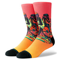 STANCE Cruising Crew Socks sz L Large (9-12) Red Orange Gradient Monkey Mischief