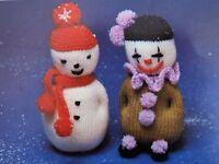 "Xmas Toy Snowman/Clown Knitting Pattern Vintage Stuffed Double Knit 20 cm/8""Tall"