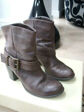 NEXT CHOCOLATE BROWN DULL OILED STYLE LEATHER ANKLE BOOTS SZ 5/38 IMMACULATE