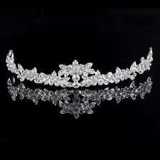 Corona De Plata Rhinestone Nupcial Tiara Diamante Boda Fiesta Baile de graduación Diadema