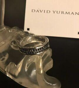 David Yurman 2 Row Black Diamonds Streamline Mens Ring