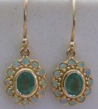 BEAUTIFUL 9ct SOLID GOLD EMERALD & OPAL Drop EARRINGS E29