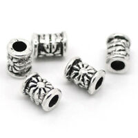 120Pcs Silver Tone Carved Tube Spacer Beads 4x6mm -Jewellery Making,DIY Cra A1E9