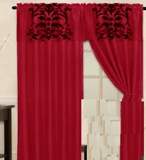 Black Red Curtain Set Flocked Curtain Panel Window Covering Drapes