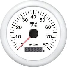 TACHOMETER 8000 RPM & DIGITAL HOUR METER UNIVERSAL OUTBOARD GAUGE  WHITE FACE