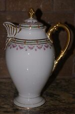 FRENCH LIMOGES R. DELINIERES  D&CO.1879-1900 FINE CHINA TEAPOT ROSE SWAG PATTERN