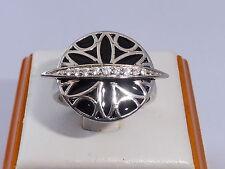 Onorevoli Art Deco Design Sterling 925 Argento Bianco Zaffiro Nero Smalto Anello