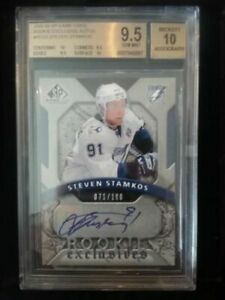 2008-09 SP GAME USED #RESS STEVEN STAMKOS RC ROOKIE EXCLUSIVE AUTOS BGS 9.5 /100