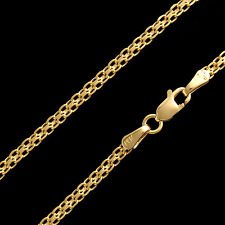 "22"" Bismark Hollow Mesh Chain 14k Solid Yellow Gold Unisex Necklace 2.5mm Wide"