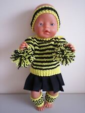 "BABY BORN 17""  DOLLS CLOTHES  RICHMOND TIGERS CHEERLEADER OUTFIT"