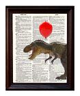 Tyrannosaurus Rex Balloon - Dictionary Art Print Printed On Authentic Vintage