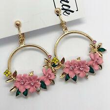 Pink & Gold Floral Wreath Hoop Rhinestone Drop Clip On Earrings Blogger UK