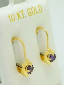 AMETHYST 0.58 Cts EARRINGS 10K YELLOW GOLD  * Made in USA * NEW WITH TAG