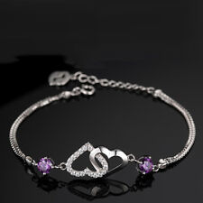 Silver Plated A Little Friendship Hearts Crystals Bracelet Adjustable Link Chain