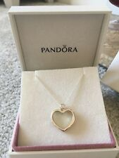 Authentic Pandora Silver Heart Floating Locket Glass Necklace Boxed