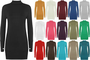 Women Ladies Long Sleeve Stretch Thumb Hole Tunic Top Bodycon Polo Neck Jumper