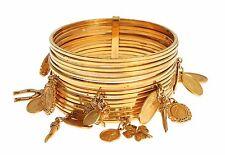 NEW $1300 DOLCE & GABBANA Bracelet Gold Brass Maria Sicily Charm Bangle Cuff
