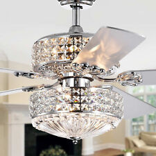 Modern Ceiling Fan with Light - Upper and Lower Lights 52in with Crystal Shades