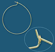 100 Gold Plated Wine Glass Charms Wire / Hoops 25MM