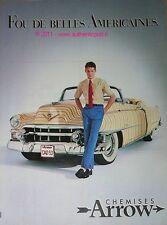 PUBLICITE ORIGINALE DE 1983 CHEMISE ARROW VETEMENT CADILLAC JAUNE RAYEE PUB AD