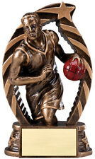 "Basketball trophy, New Design, about 6"" High, w/ engraving, antique gold"