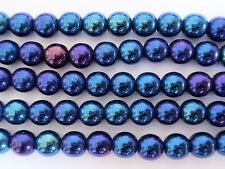 25 8mm Czech Glass Round Beads: Iris - Blue