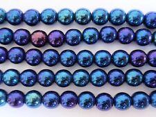 25 8mm Czech Glass Round Beads: Iris - Blue