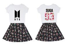 BTS SUGA JIN JIMIN J-HOPE V Girls Printed T-Shirt + Floral Skirt Two Piece Suit