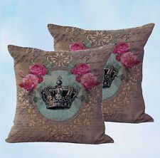 US Seller-set of 2 shabby chic crown rose cushion cover pillow cushion covers