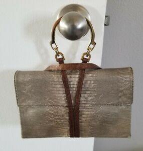Vintage Escada Handbag, Lizard/Snakeskin, Gold Handle Clutch, Italy Rare! EUC