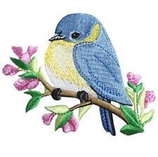"Bluebird Applique Patch - Bird, Flowers, Branch 3.5"" (Iron on)"