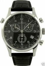 Philip Men's Fly Back Black Dial Leather Chronograph Watch With Date