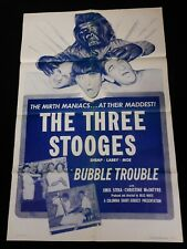 BUBBLE TROUBLE 1953 * THREE STOOGES * 3 STOOGES * GREAT ONE SHEET * STUNNING!!