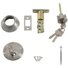 Home Door Locking Security Single Cylinder Deadbolt Lock Silver Tone I3B3