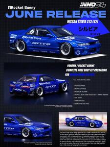 INNO 1:64 Nissan Silvis S13 Model Car Rocket Bunny Alloy Die-cast Gifts -Blue