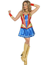 Blue Red Cute Superhero Hero Costume XS UK 8 Woman Wonder Comic Book Cosplay
