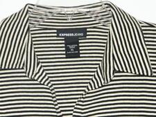 NEW! Express Jeans BLACK and WHITE STRIPED V-Neck Cotton Shirt Top size XL