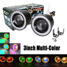 "2x 3"" RGB Multi-Color Projector LED Fog Lights w/ Amber Angel Eyes Halo Ring 12V"