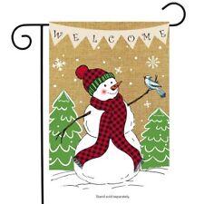 "Welcome Snowman Burlap Garden Flag Winter 12.5"" x 18"" Briarwood Lane"